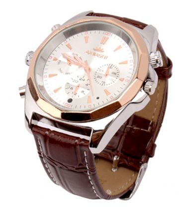 Montre Caméra Espion Full HD 8GB Daim Marron