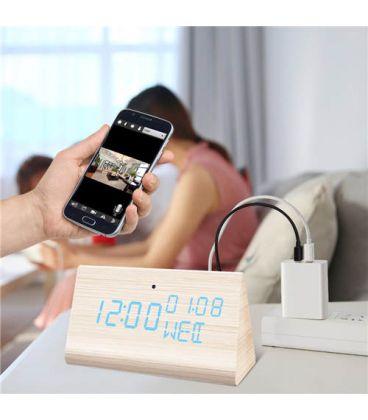 Réveil caméra espion Wi-Fi bois triangle