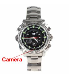 Montre Camera Espion Full HD 8GB Argent Vision Nocturne Vue Face