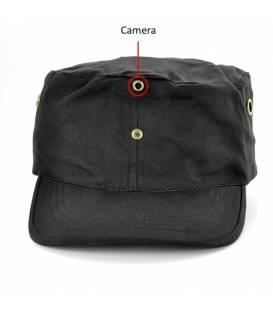 Casquette Caméra Espion noire 4GB Vue Face