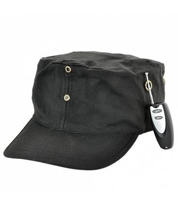 Casquette Caméra Espion noire 4GB Vue Côté