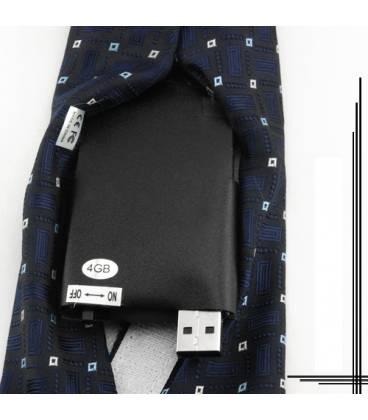 Cravate Caméra Espion Bleue 4GB Vue Dos