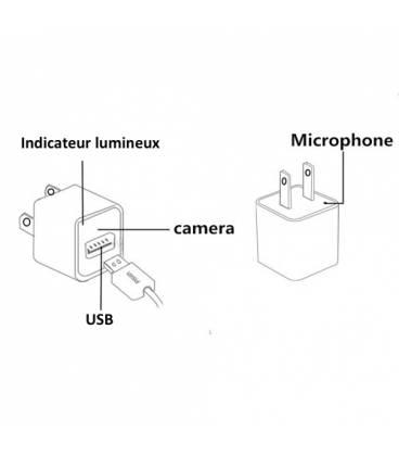 Chargeur USB Full HD camera espion