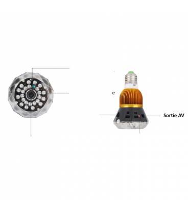 Ampoule HD Caméra Espion avec Vision Nocturne et Activation Vocale Vue Détaillée