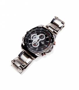Montre Camera Espion Full HD 8GB Argent Vision de Nuit Vue Face