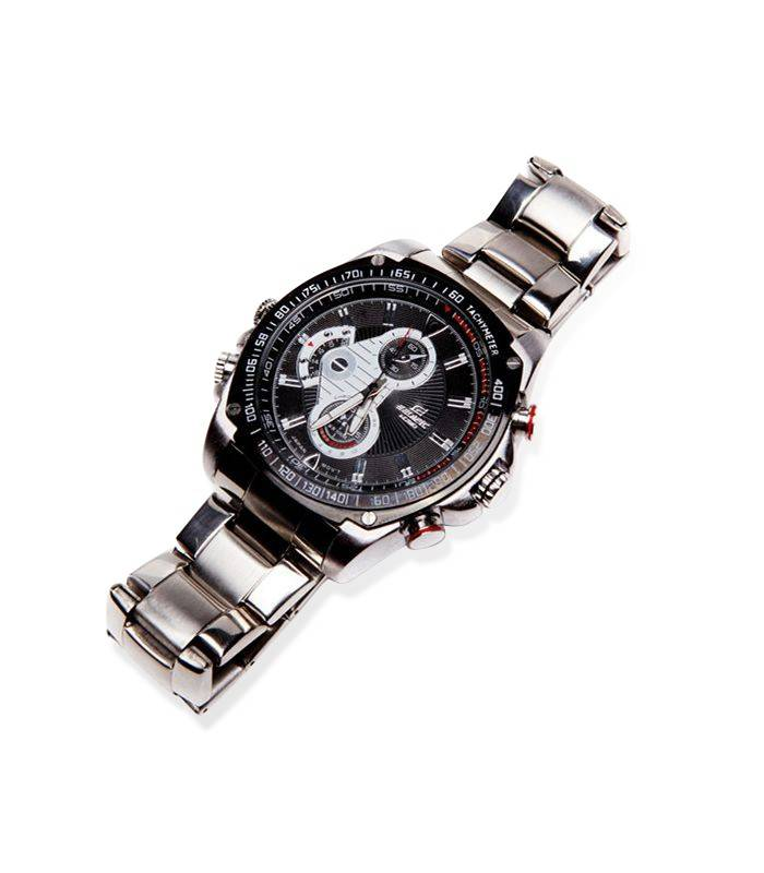 Montre Camera Espion Full HD 8GB Argent Vision de Nuit Vue Face 05a78d28c163